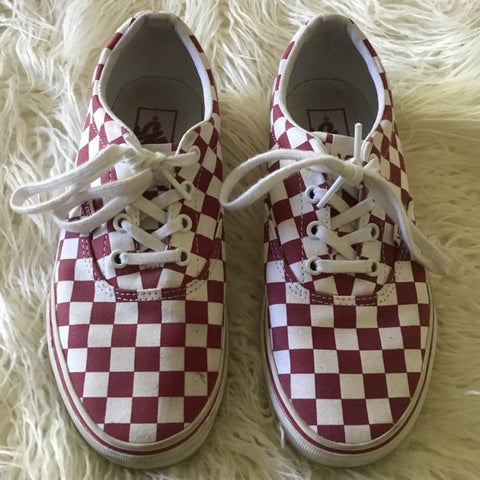Vans Red & White Check Sneakers Size 7.5 Women
