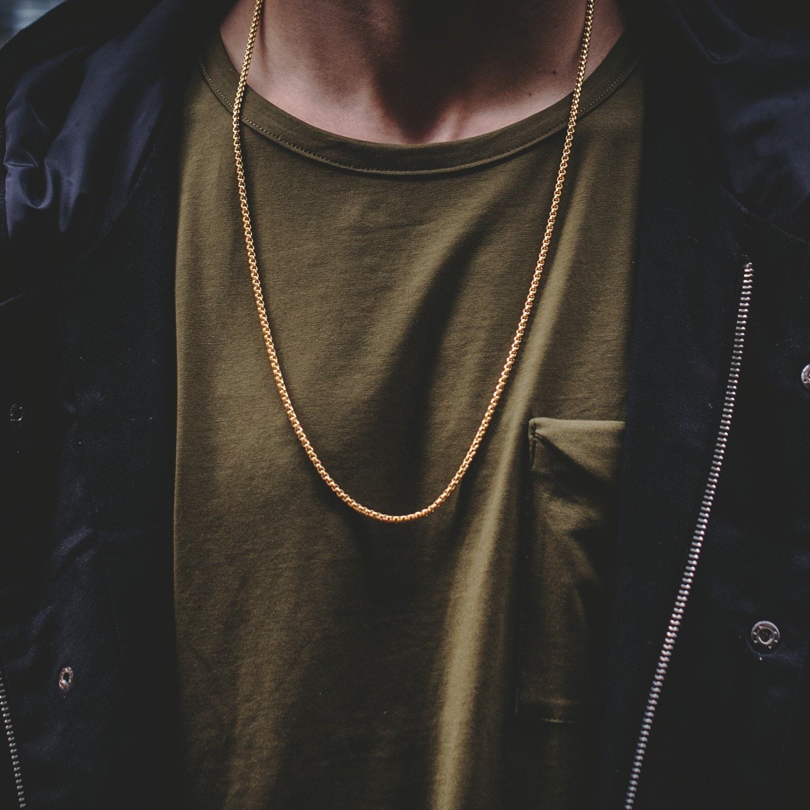 18k gold rounded box chain