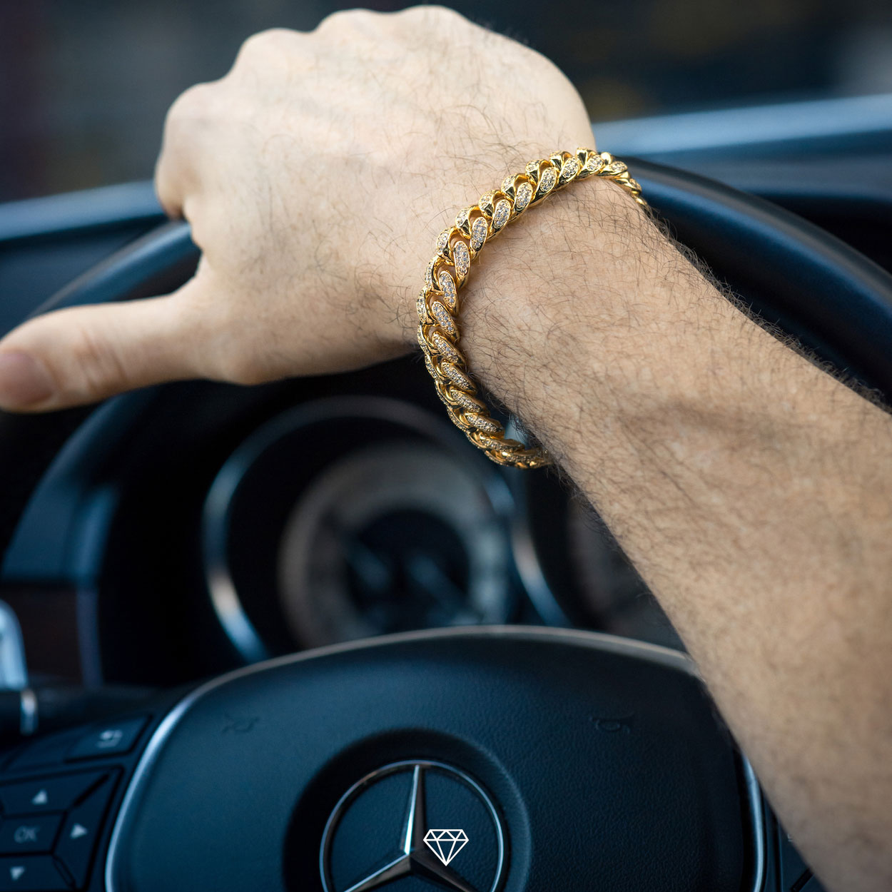 GCS Yellow Gold Iced Out Cuban Link Bracelet