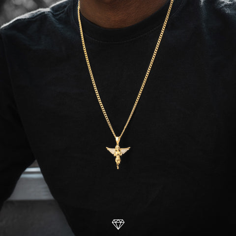 Yellow Gold Iced Diamond Angel Chain