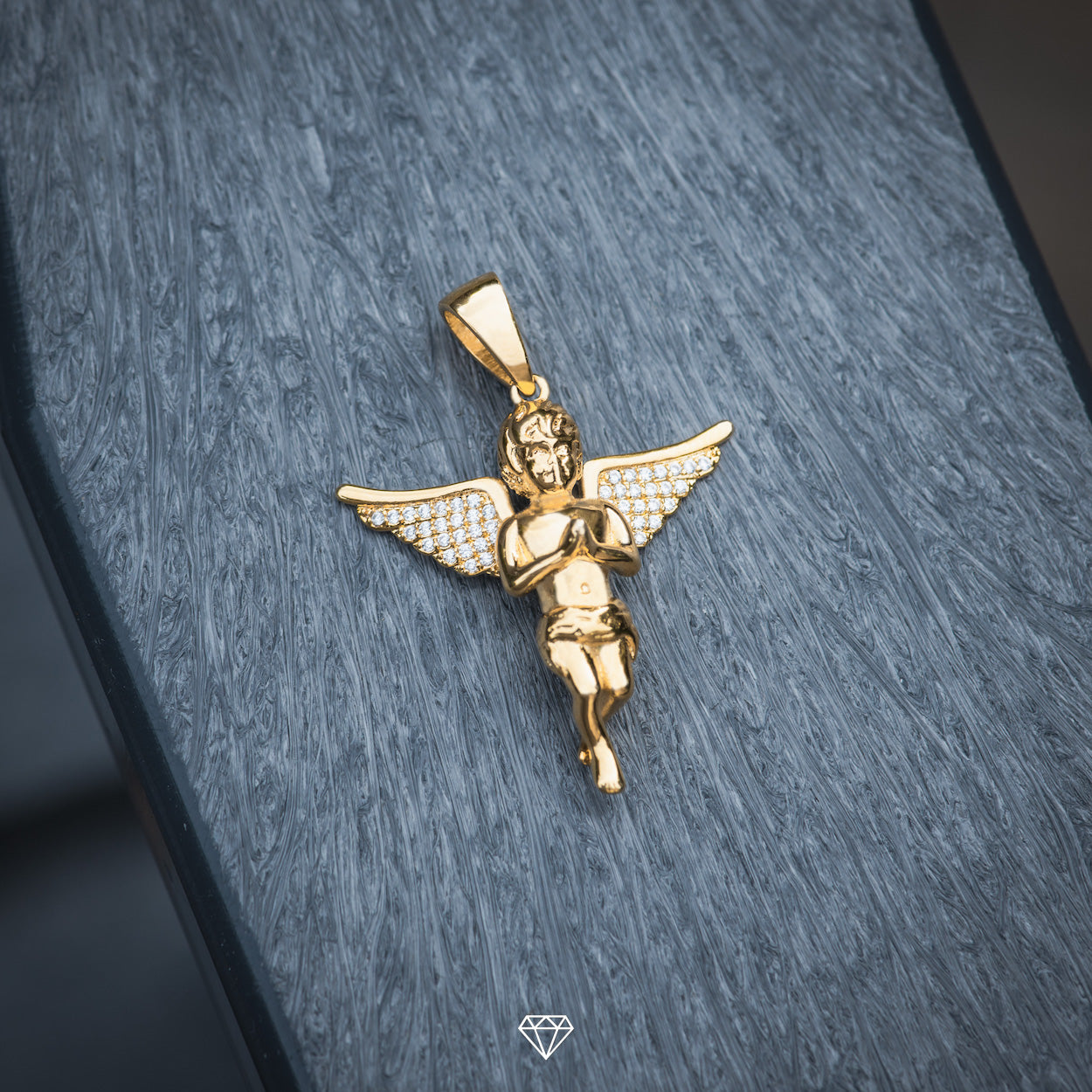 Yellow Gold Iced Diamond Angel Pendant
