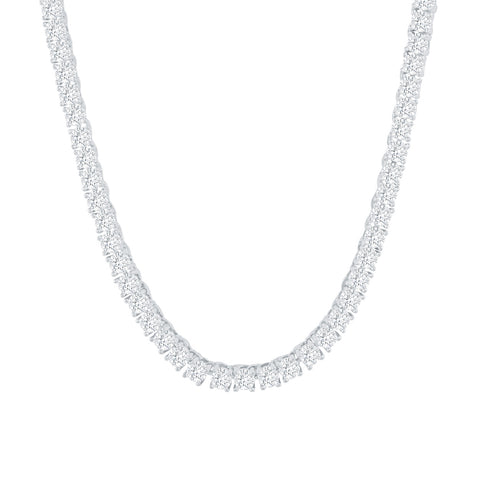Gold City Luxury Diamond Tennis Necklace in White Gold