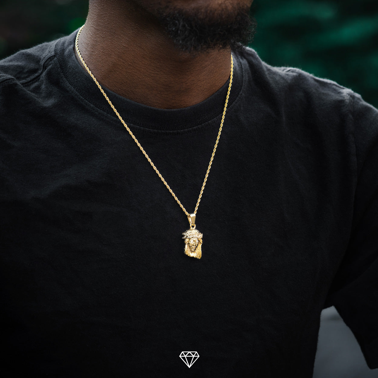 Yellow Gold Hip Hop Jesus Piece Pendant