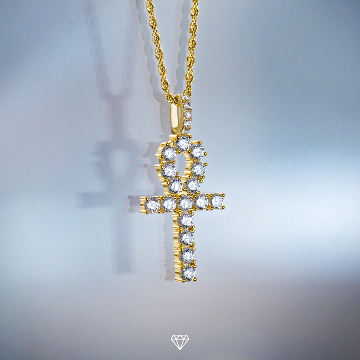 Gold City Diamond Ankh Cross Pendant