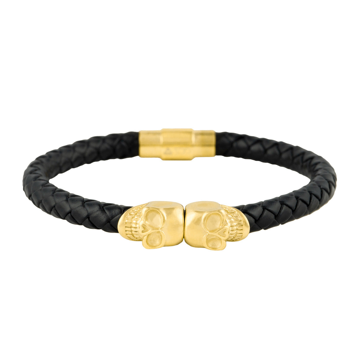 Gold City Designer Skull Leather Bracelet