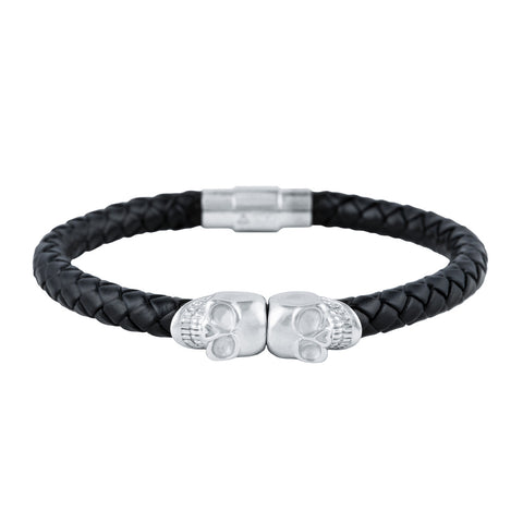 Gold City Designer Leather Skull Bracelet in White Gold
