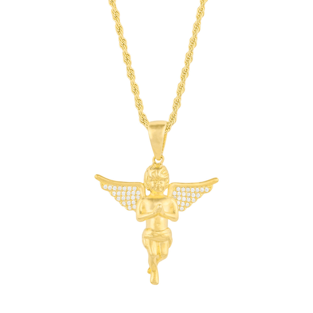 Gold City Angel Pendant with Diamond Wings