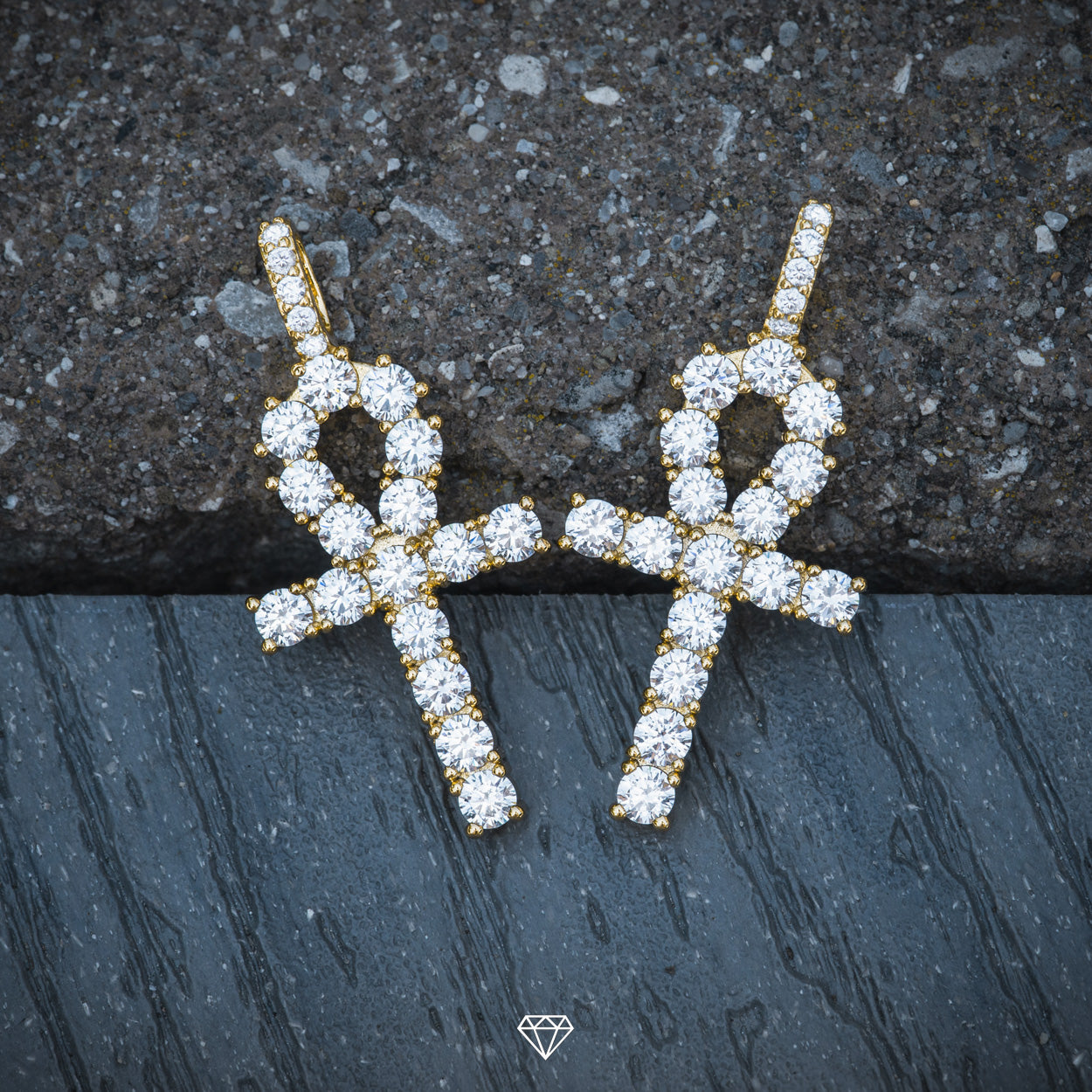 GCS Gold Iced Diamond Ankh Pendant