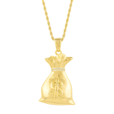 Gold City Money Bag Hip Hop Pendant