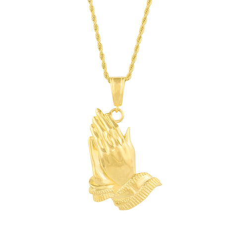 Gold City Hiphop Praying Hands Pendant