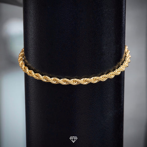 GCS Yellow Gold Rope Bracelet 4mm