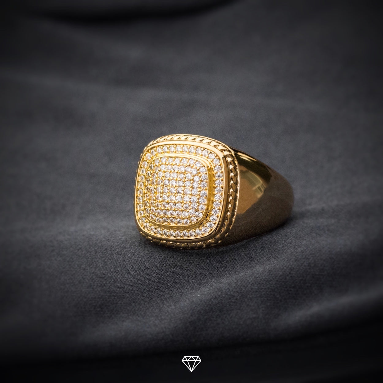 GCS Yellow Gold Iced Diamond Ring
