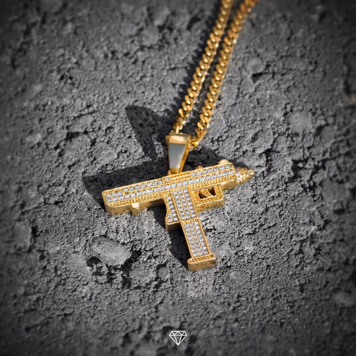 GCS Yellow Gold Hip hop Iced Diamond Uzi Pendant
