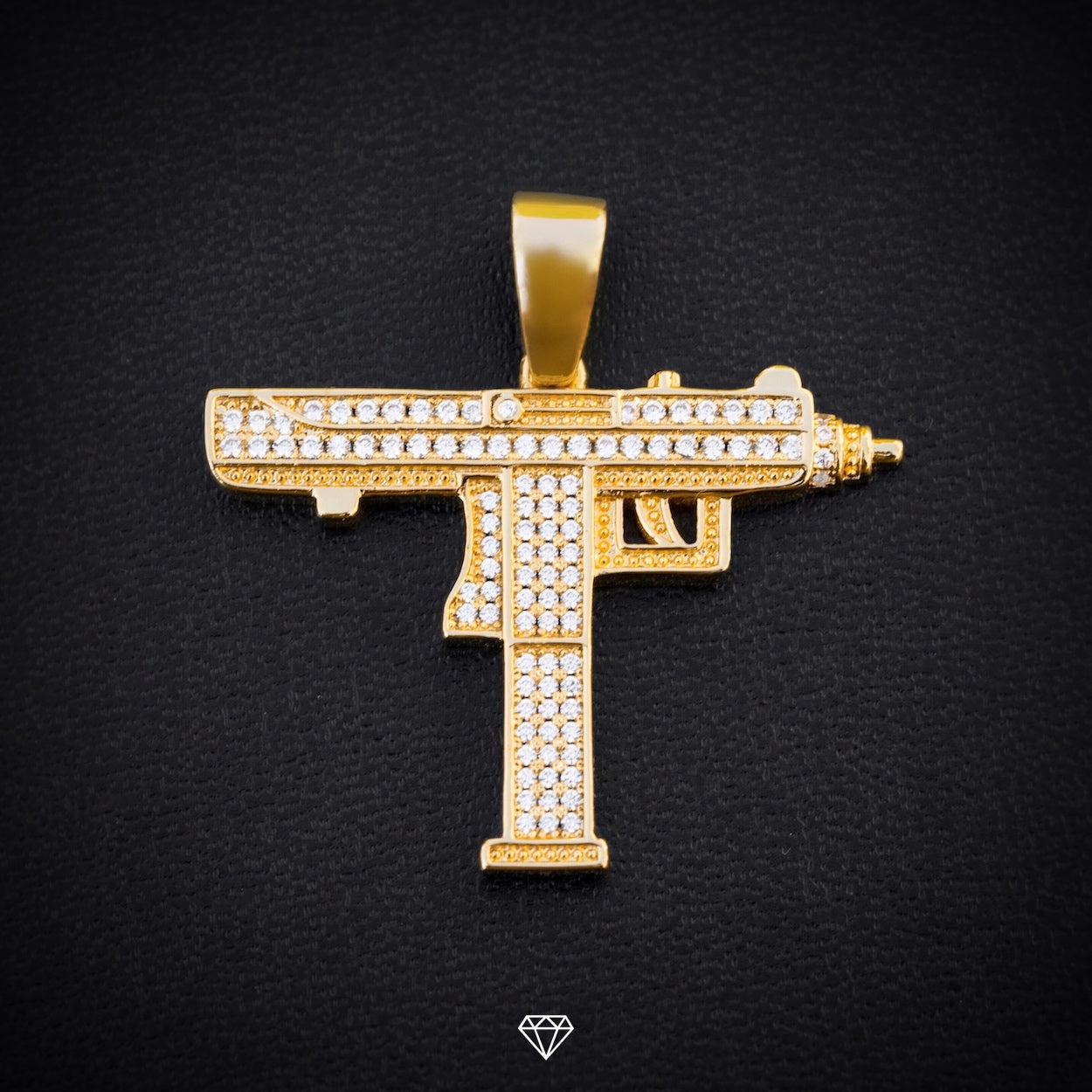 Gold City Yellow Gold Iced Diamond Uzi Pendant