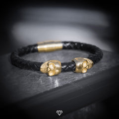 GCS Streetwear Black Leather Gold Skull Bracelet