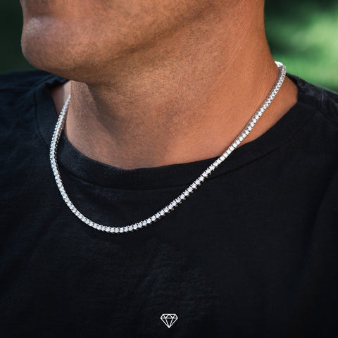 Mens White Gold Diamond Tennis Necklace