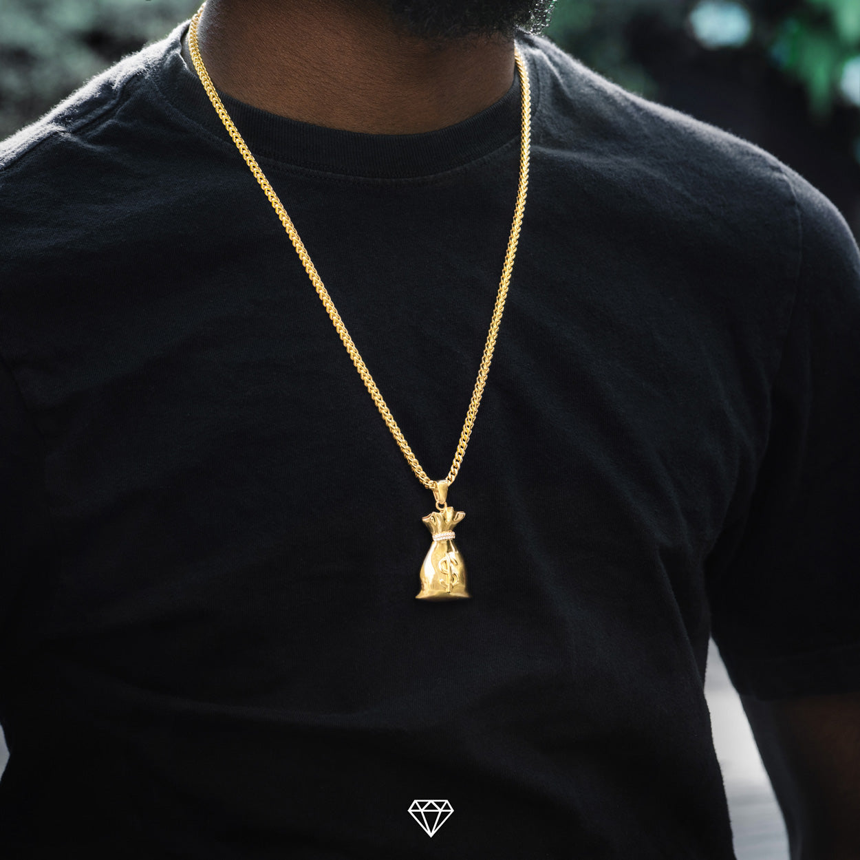 Mens Yellow Gold Hip Hop Money Pendant