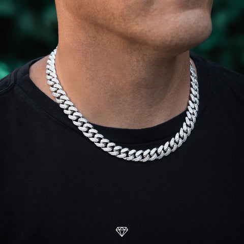 White Gold Iced Out Cuban Choker