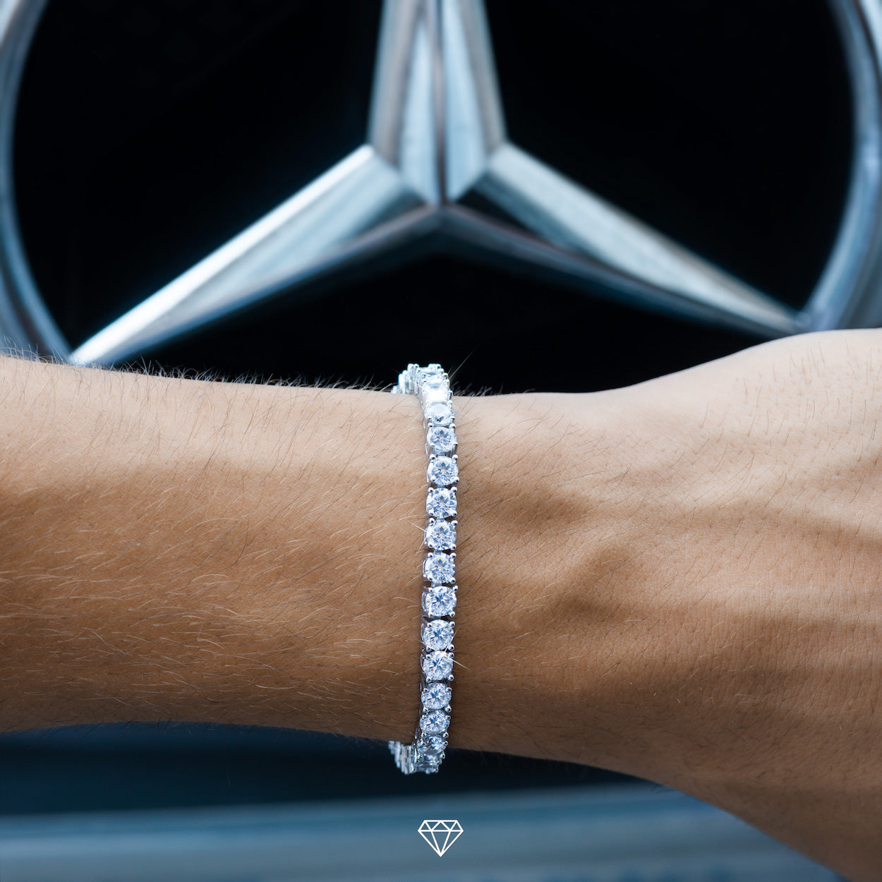 White Gold hiphop iced tennis bracelet