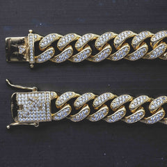 Diamond Cuban Link Bracelet in Yellow Gold (10mm)-GLD-Bracelet-Gold City Shop-Luxury Gold and Diamond Jewelry