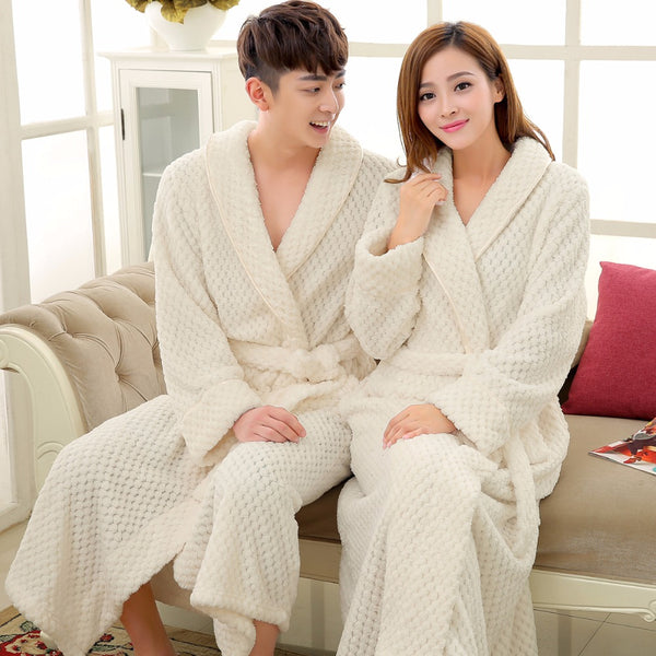 Lovers Luxury Long Flannel Bathrobe Men Women Kimono Waffle Bath ...