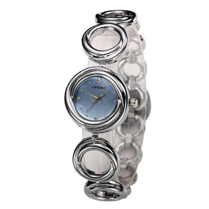 Anqique Full Steel Women's Round Dial Analog Display Stylish Quartz Wrist Watch Bracelet Hour clock Lady Girl Gift