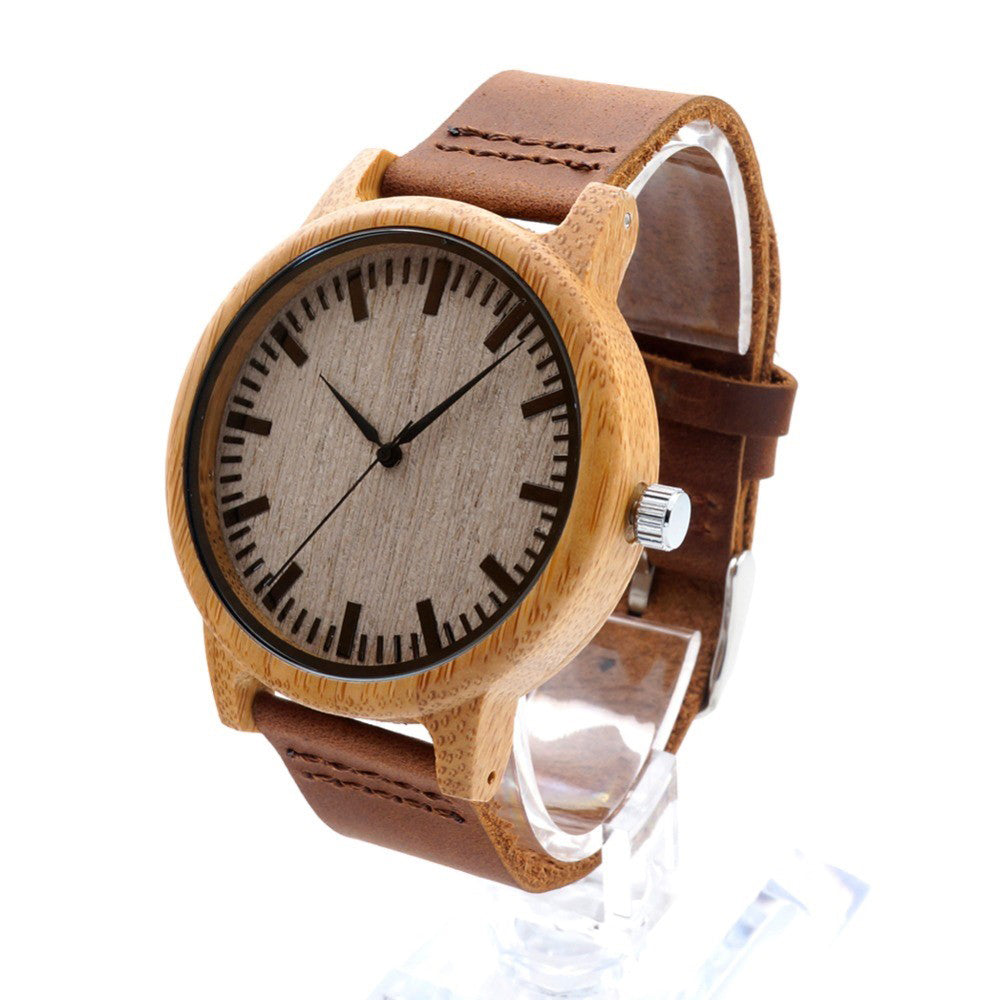 Men Design Real Leather Strap Analog Bamboo Wood Watch