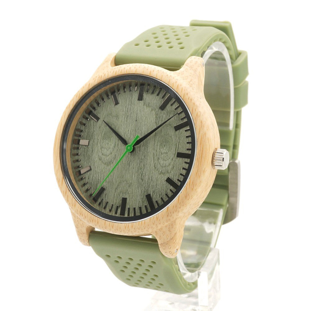 Casual Green Silicone Strap Wooden Bamboo Watch