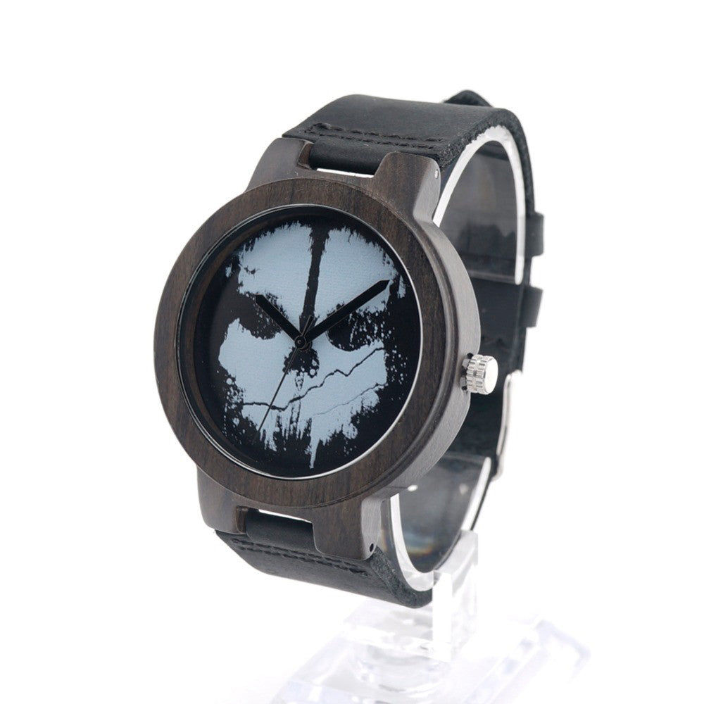 Ebony Skeleton Black Wood Men's Watch with Real Leather Strap