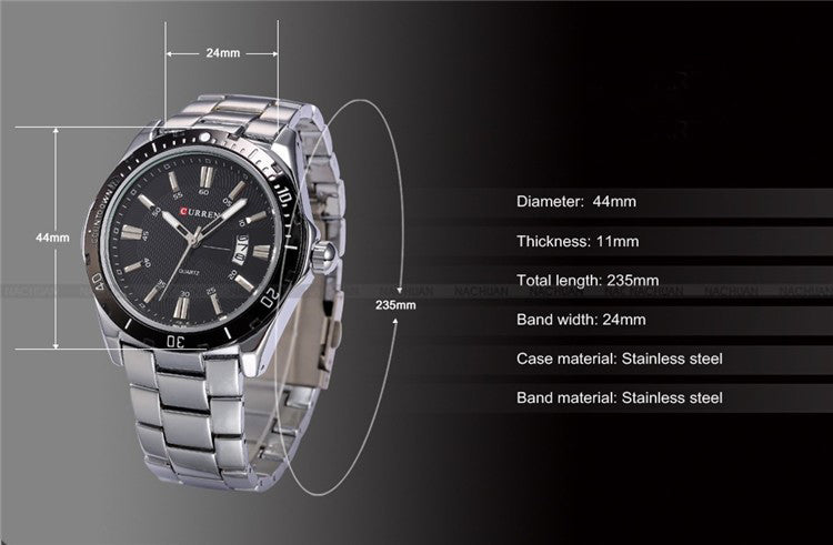 Luxury Brand Full Stainless Steel Analog Display Date Men's Quartz Watch Waterproof Watches Men Watch relogio masculino