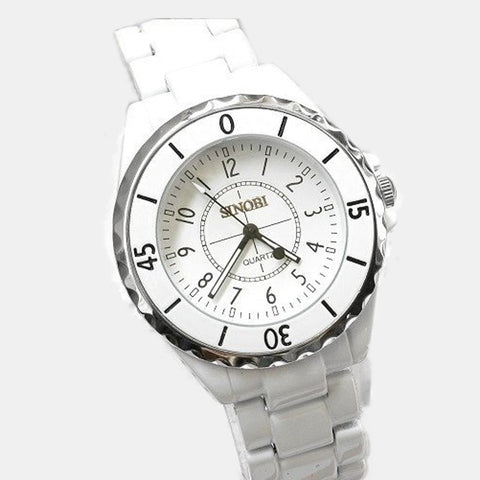 Fashion brand Sinobi Ladies Luxury Metal Quartz Watches Women Unisex Gift Watch white black couple lovers wristwatch 1850