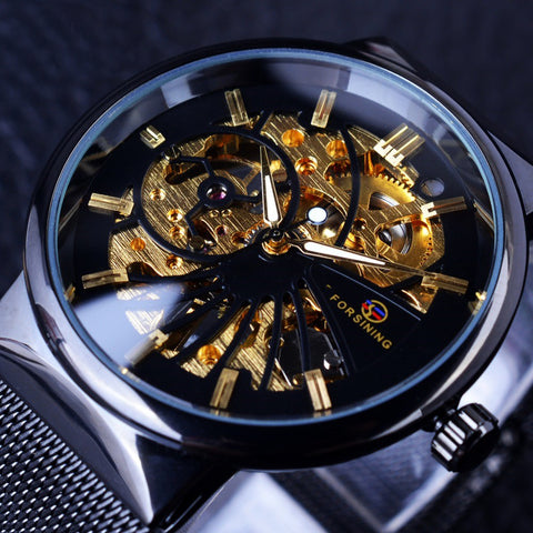 Image of Super Thin Case Luxury Neutral Design Waterproof Skeleton Watch
