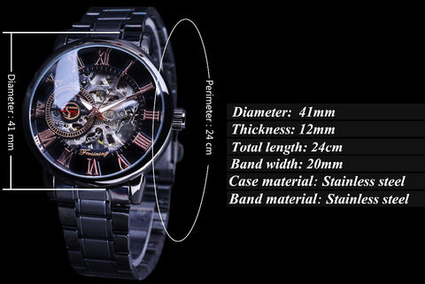 Image of Classic Retro Roman Number Black Steel Skeleton Watch