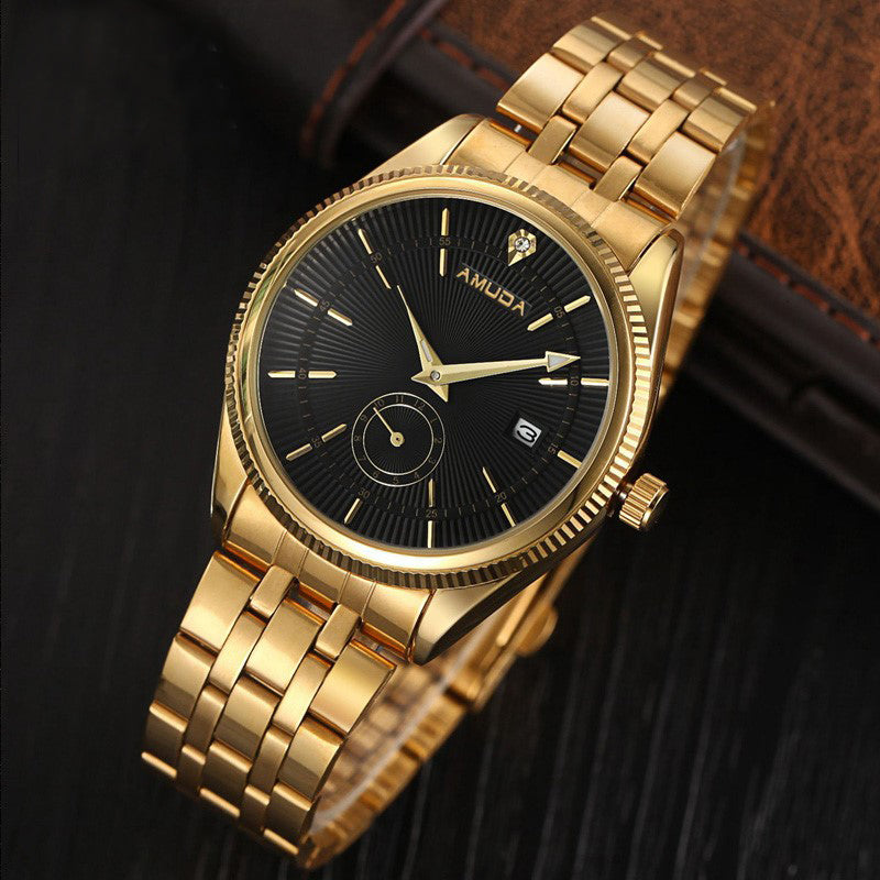 Male Watch Luxury Famous Brand Men Golden Clock Stainless Steel Business Mens Watches Rhinestone Black Face Quartz Wristwatch