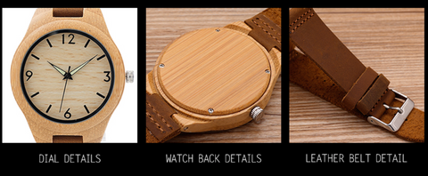 Minimalist with Leather Strap Natural Bamboo Wooden Watch