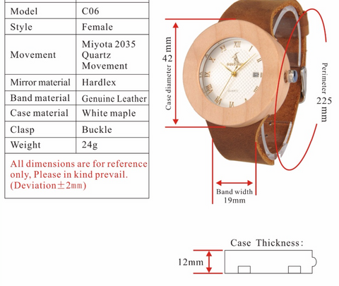 Image of Women's Design Brand Luxury Wooden Watch With Real Leather Quartz Watch relojes marea For Women Dress Bamboo Watch