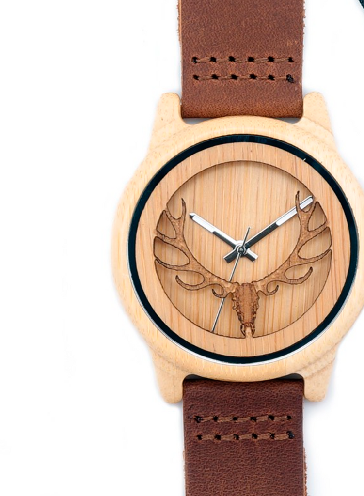 Deer Head WIth Hollow Out Technology Bamboo Wood Watch