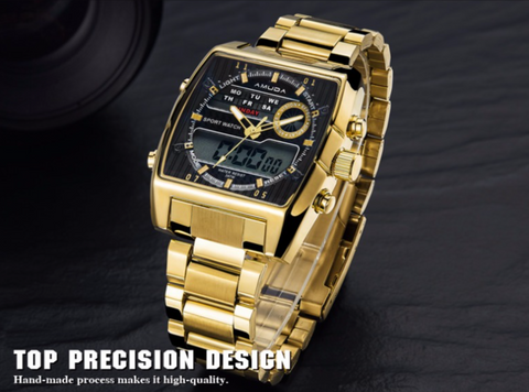 Image of Golden Led Dual Display Watch