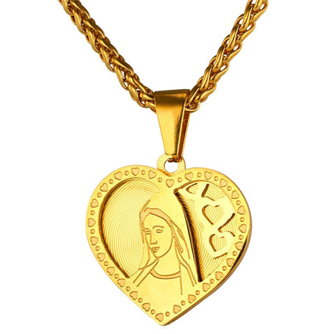 Image of Brand Heart Necklace & Pendant For Women Gold Color Stainless Steel Catholic Religious Mother Virgin Mary Jewelry Gift P724