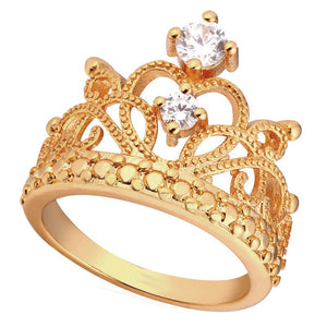 Crown Rings For Women Birthday Gift Trendy Gold Color Cubic Zirconia Engagement /Wedding Bands Promise Rings R414