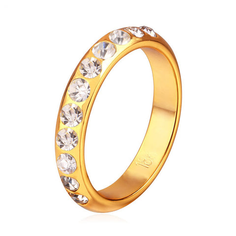 Image of Crystal Wedding Rings For Women Jewelry Wholesale Gold Color Trendy Party Gift Engagement Ring Wedding Bands R369