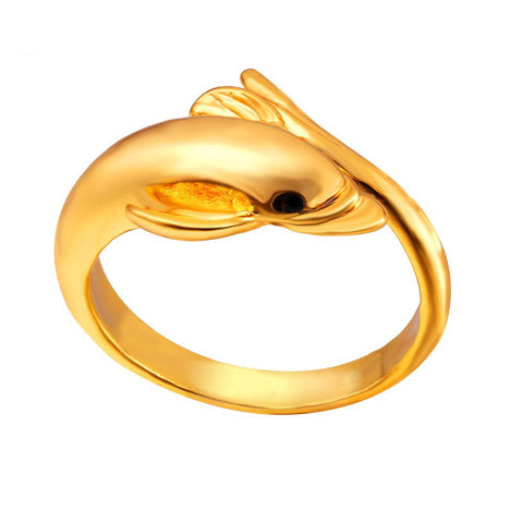 Image of Fashion Dolphin Bands Ring For Women Gold Color Guardian Of Love Femme Wedding Engagement Rings