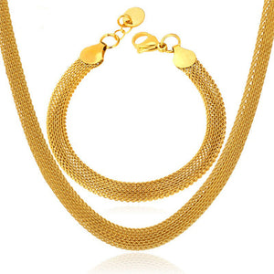 Gold Color Mesh Necklace Set Stainless Steel  Wholesale Trendy Necklace/Bracelet Party Men Jewelry Set S502