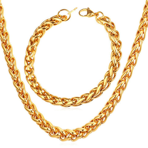 Image of New Wheat Spiga Chain Necklace Set Men Stainless Jewelry Wholesale 9MM Width Gold Color Necklace Bracelet Jewelry Sets S836