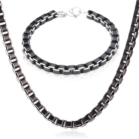Image of Stainless Steel Jewelry Sets Black Box Link Chain For Men Jewelry Fashion High Quality Necklace Set Bracelet Men S649