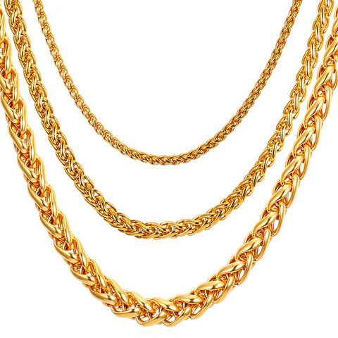 Stainless Steel Rope Chain For Men 46cm/55cm/66cm/71cm/76cm 3mm/6mm/9mm Gold/Black Color Twisted Necklace Mens Jewelry N571