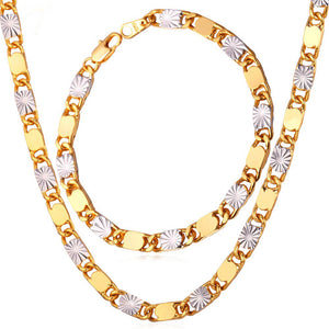 Two Tone Ethiopian Jewelry Set Wholesale Trendy Gold Color Bracelet Necklace Set For Men Jewelry S703