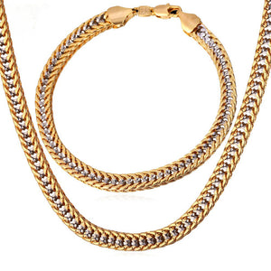 Two Tone Gold Color Necklace Set Franco Chain Necklace Bracelet Men Jewelry Set Wholesale Punk Style S707