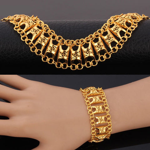 Image of Unique Design Hollow Bracelet For Men/Women Gold Color Vintage Big Link Chain Bracelet Fashion Jewelry H569