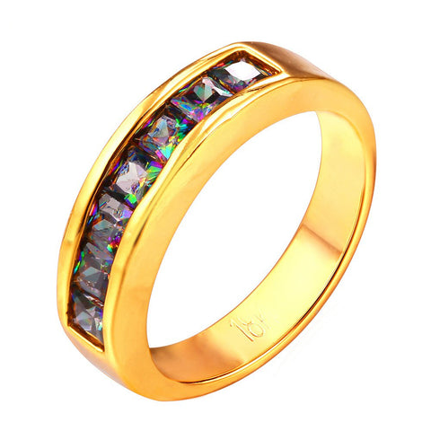 Image of Zircon Brand Ring Fashion Jewelry Gold Color 5MM Wide Party Gift Round Rings For Women R426